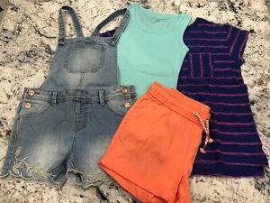 Lot 4 Outfits! Denim Shortalls, Coral color shorts, Tank & Stripe Tee SZ 6X/7/8