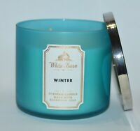 NEW BATH & BODY WORKS WINTER SCENTED CANDLE 3 WICK 14.5OZ LARGE WHITE BARN BLUE