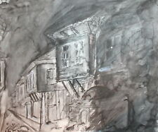 Impressionist ink drawing landscape house signed