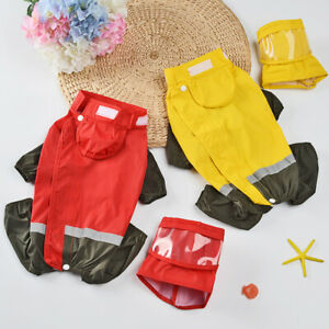 Dogs Yellow Raincoat for Medium Large Dogs Reflective Waterproof Coat with Leg
