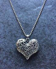 Heart Pendant Necklace Ladies Carved Large Long Chain
