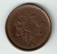 MONTREAL UN SOU AGRICULTURE & COMMERCE COPPER TOKEN 18 CHERRY LEAVES 5 SHAMROCKS