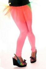 Neon/UV Glow Pink Leggings Dance/Hen Do/80s/Cyber/Goth/Punk/Rave/Festival Large