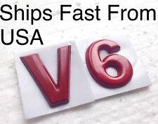 "New V6 Car Cherry Red ""V-6"" Emblem Badge. Sold & Ships Fast From USA"