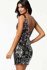 Mini Abito schiena aperta nudo pailette Womens Mini open dress clubwear sequin