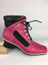 Timberland Womens Fuchsia Pink Leather Wedge Heel Boots 14375 Shoe Sz 9.5 US