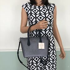 NEW! Kate Spade Joley Small Satchel Shoulder Bag Purse Glitter Silver Grey