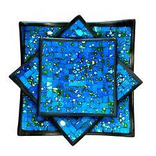 Mosaic Plates Square Blue Decorative Set 3 Hand Made Centerpiece Zenda Imports