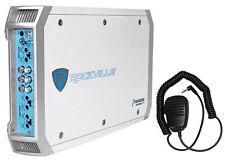 Rockville RXM-F3 1600 vatios Marine/Barco 4 Canal Amplificador Amp + PA Micrófono