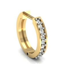 14K Yellow Gold Over Round Shape Cz Hoop Style Nose Ring For Women Daily Use