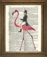 VICTORIAN MAN RIDING FLAMINGO: Surreal, Fun Vintage Dictionary Print Wall Art