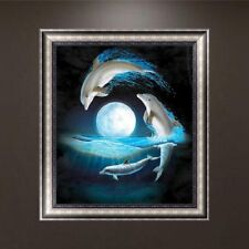 Night Moon Dolphins 5D Diamond Embroidery Painting Cross Stitch DIY Craft Decor