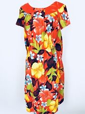 Womens Vintage Hawaiian Caftan Mumu Dress 60s Sears Orange Hibiscus Size Small S