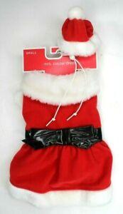 Mrs Santa Claus Christmas Dog Costume Small Dog Holiday Dress Hat