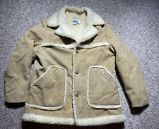 VINTAGE Mens Western Rancher Coat Faux Suede Sherpa Winman USA UNION MADE SZ L