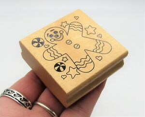 Rubber Ink Stamp - Gingerbread Man Rubber Wood Stamp - Easter Christmas Crafts