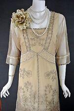 Nataya Dress Sale Beige Fancy Victorian Downton Abbey Dresses Lace L NWT