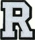 "2 1/8"" x 2 1/2"" White Black Block Letterman's Letter R Felt Patch"