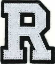 "2 1//8/"" x 2 1//2/"" Metallic Silver Pink White Felt 3D Raised Letter R Patch"