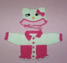 American Girl Crochet Hot Pink Hello Kitty Sweater & Hat Fits American Girl 18""