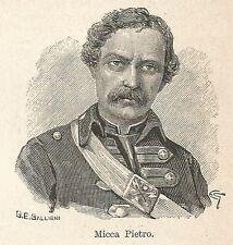 A7228 Pietro Micca - Stampa Antica del 1928 - Xilografia