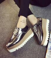 Heel Platform Shoes Lace Up Patent Leather Creepers Oxford Women Wedge High