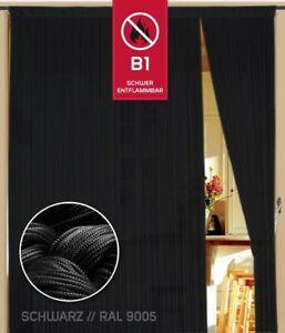 Fadenvorhang 100 cm x 300 cm schwarz  in B1 schwer entflammbar
