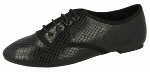 Spot On F8R0171 Ladies Black Snake Print Lace Up Shoes (R17B)