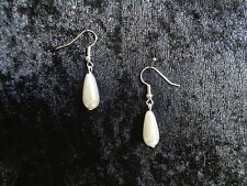 Ivory acrylic pearl teardrop bridal bridesmaid wedding earrings daggle drop