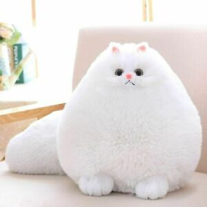 Cat Stuffed Animal Toys Gift Plush Cat Animal Baby Doll, Fat White 12 Inches
