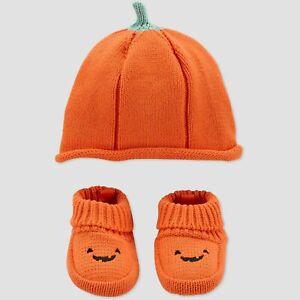Carter's/Just One You-Halloween Pumpkin Orange Hat W/Booties-NWT