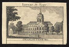 BERLIN SCHLOSS CHARLOTTENBURG Ansicht um 1795 Kupferstich Original