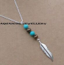 FEATHER TIGER'S EYE & TURQUOISE HEALING STONES PENDANT ON 925 PLATED CHAIN
