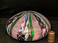 Outstanding Latticino & Candy Cane Murano/ Venetian Glass Paperweight with Label