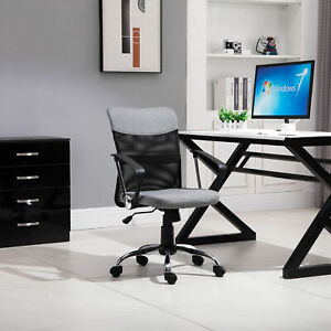 Office Chair Linen Mesh Fabric Swivel Computer Desk Chair Home with Wheel, Grey