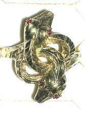 Antiker Schlangen Ring Gold 585 Rubine Ø 18,5mm