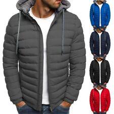 Men Puffer Bubble Down Hoodie Jacket Winter Warm Zip Quilted Padded Outwear Coat