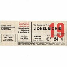 LIONEL RICHIE Concert Ticket Stub MUNICH GERMANY 4/11/87 OLYMPIAHALLE COMMODORES