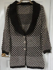 Alex&Co Brown Beige Polka Circle Knit wool & alpaca mix Long Cardigan, size 10