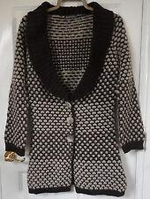 Alex&Co Brown Beige Polka Circle Knit wool & alpaca mix Long Cardigan, size 10