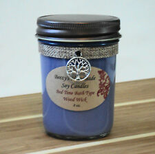 8 oz. Bed Time Bath Handmade Natural Soy Wax Wood Wick Jelly Jar Purple Candle