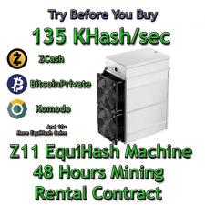 Z11 135 KSol/sec Guaranteed 48 Hours Mining Contract Equihash (Zcash)