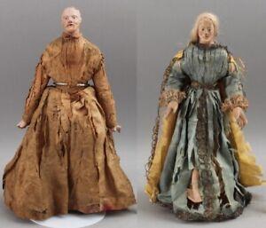 2 18thC Antique Jointed Wood Terracotta Head & Hands Santos Saint Creche Dolls