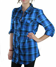 UK Size 14 Ladies Long Sleeved Blue Checked Shirt Blouse