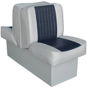 Boat Seat Back To Back Ski Lounge Marine Vinyl Cushion Chair Fishing Grey-Navy