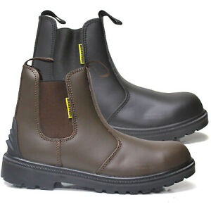 MENS DEALER BOOTS CHELSEA LIGHTWEIGHT LEATHER SAFETY WORK STEEL TOE CAP SHOES SZ
