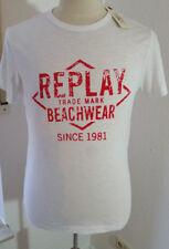 REPLAY Designer T-SHIRT Gr. M weiß mit roten Branding, 100 % Baumwolle TOP! NEU