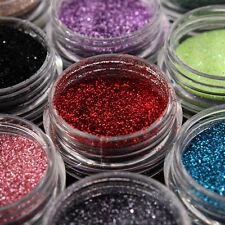 Nail Art Fine Glitter 18 Colors Dust Set UV Gel Polish Acrylic Tips Decoration