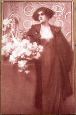 1905 Postcard - 'Art Nouveau Woman & Basket of Flowers'
