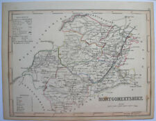 1840s ENGLISH COUNTY MAP MONTGOMERYSHIRE NORTH WALES